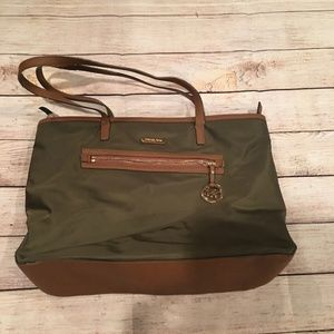 Michael Kors Olive Green Nylon Kempton Bag